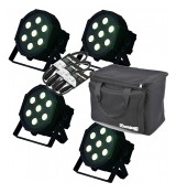 LIGHT4ME FLAT QUAD PAR 7x8W RGBW LED slim SET