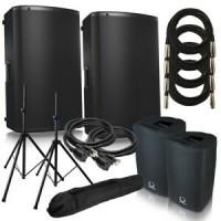 Zestaw nagłośnieniowy Turbosound IX 15 + ip15B + Behringer QX2222USB + statywy + pokrowce + kable 7m