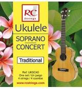 RC Strings UKSC40 Ukulele Soprano-Concert set. - struny do ukulele