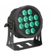 Cameo Light FLAT PRO PAR CAN 12 - 12 x 10 W FLAT LED RGBWA in black housing, reflektor sceniczny LED